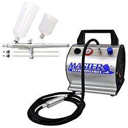 Master Airbrush .2.3.5mm Airbrush 20/40cc Cups with Airbrush Depot TC-60 Compressor