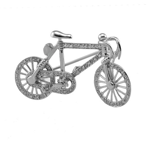 14KT White Gold Diamond Bike Pin And Pendant
