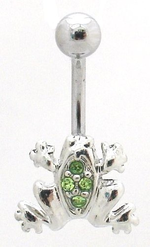 Pierced & Modified - Body Jewellery Belly Bars - Small Crystal Frog Navel Bar - Green