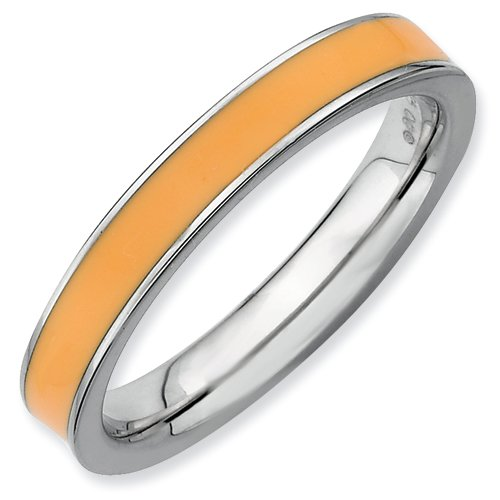 Sterling Silver Stackable Expressions Orange Enameled 3.25mm Ring (Size 6)