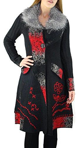 #1150 Damen Designer Patchwork Strick Mantel Fellkragen Schwarz Rot 34 36 38 40 42 44 (42, Schwarz-Grau)