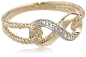 10k Yellow Gold Infinity Diamond Ring, Size 7