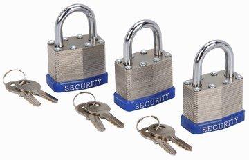 """3 Piece 1-1/2"""" Keyed-Alike Padlocks Each Key Opens All Three Steel-Plate Padlocks"""