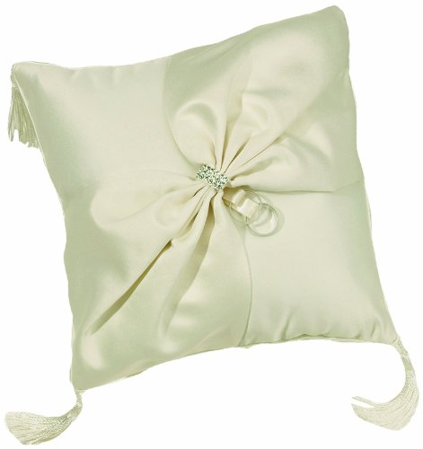 Lillian Rose Rhinestone Ring Pillow, 8-Inch, Ivory