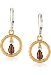 "NINE WEST VINTAGE AMERICA ""Lucky Break"" Tri-Tone Petite Orbital Drop Earrings"