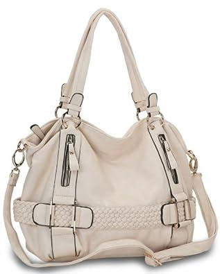 Cream Weave Pattern Belt Accent Top Closure Double Handle Soft Hobo Shoulder Bag Shopping Tote Handbag