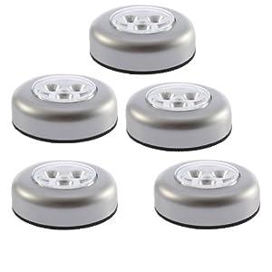 SODIAL (R) LED a batteria Stick Tapon luce della lampada di tocco per armadi / ripostigli / Attici / Capannoni / Car (confezione da 5)   recensioni dei clienti Valutazione