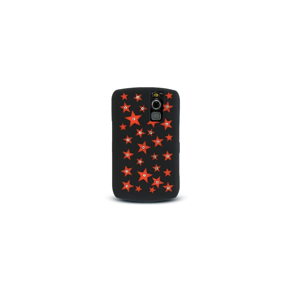 Red Star with Diamond Rhinestone Soft Silicone Skin Gel Cover Case for Blackberry Curve 8300 8310 8320 8330
