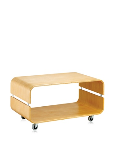 Adesso Contour Rolling Coffee Table, Natural