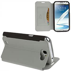 Bark Texture Leather Case with Holder & Credit Card Slot for Samsung Galaxy Note 2 N7100 (Grey)