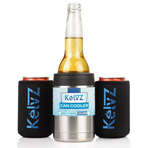 KelvZ Insulated Stainless Can Cooler Beer Holder - Fits All Standard 12 oz Cans and Bottles + Bonus 2 Stylish Coolies - Top Quality Double Insulation, No-Sweat Ergonomic Design - Sleek & Effective! (Can Holder Cooler compare prices)