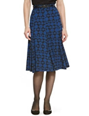 M&S Collection Spotted Long Flippy Skirt with Belt
