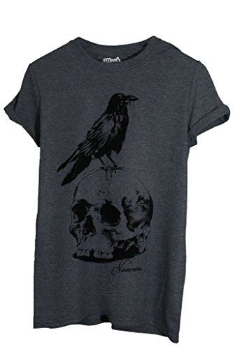 T-Shirt NEVERMORE EDGAR ALLAN POE - FAMOSI by MUSH Dress Your Style - Uomo-M-ANTRACITE MELANGE