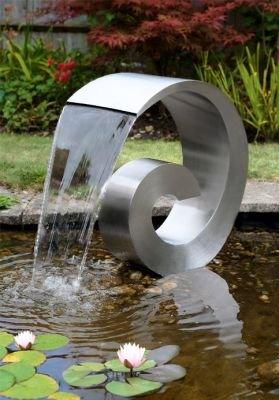 Mini Ammonite Stainless Steel Cascading Water Feature (Curly Swirly) - Small 50cm - Plastic Reservoir