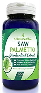 Sonora Nutrition Saw Palmetto Standardized Extract with 85% Fatty Acids and Sterols 320 mg, 100 Capsules