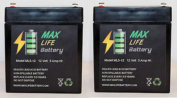 Ml5-12 - 12V 5Ah Battery For Chamberlain 4228 Evercharge Standby Power System - 2 Pack