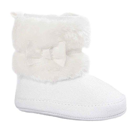 Kingko® Infantile Calze Scarpe bambino Bowknot tenere in caldo scarpe morbide Sole neve stivali morbidi greppia del bambino Stivali regalo di Natale (0~6 mesi, Bianco)