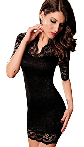 Holly O No.1 Best Seller Women's Sexy Black Lace V-neck Mini Dress Half Sleeves, Black, Medium