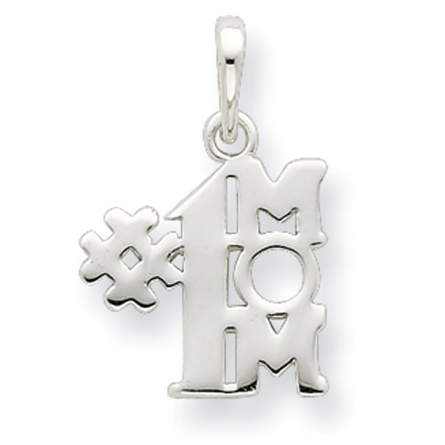 Sterling Silver Polished Number One Mom Pendant