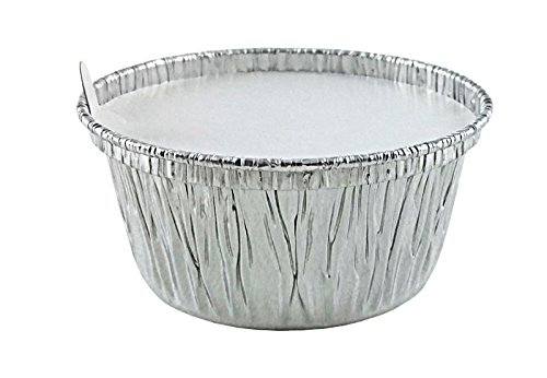 Handi-Foil of America 4 oz. Aluminum Foil C w/Board Lid -Disposable Ramekin/Cupcake/Tart Containers (pack of 50)