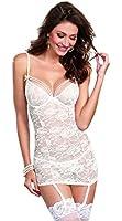 Dreamgirl Women's Sexy Dreamy Bridal Floral Lace Garter Slip