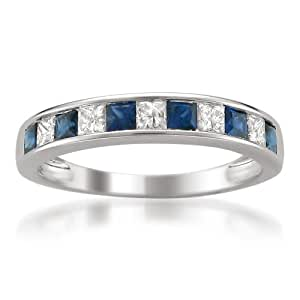 14k White Gold Princess-cut Diamond and Blue Sapphire Wedding Band Ring (1 cttw, H-I, I1-I2), Size 4
