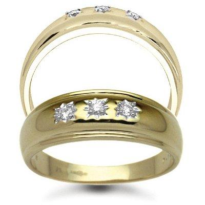 Jewelco London 9 Carat Yellow Gold 12pts Gents 3 Stone Diamond Ring