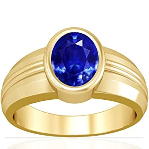 14K Yellow Gold Oval Cut Blue Sapphire Mens Ring (GIA Certificate)