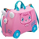 Trunki Moshi Monster Poppet Child's Ride-On Suitcase - Pink, Featuring an adorable graphic of the ever so cute, twinkly eyed Poppet, with a gorgeous pink background, this fantastic, innovative Trunki design allows your little one to pack and ride on thei