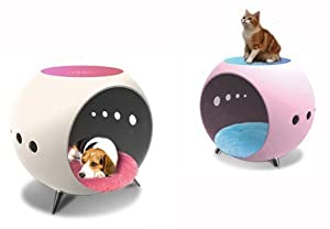 Luxury Multi-function Dog House / Cat House / Side Table with LED Lamp White Body
