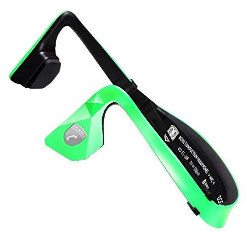 Build Excellent(ブゥルデ エケセルエンテー)ワイヤレス骨伝導 後掛け式ヘッドホン bluetooth ヘッドセット 高音質スポーツイヤホン(緑色)