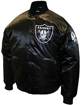 NFL Mens Oakland Raiders Prime Black Satin Jacket by MTC Marketing, Inc
