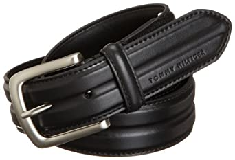 Tommy Hilfiger Men's Center Dip Belt, Black, 36