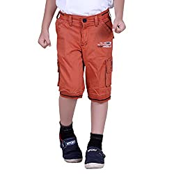 Naveens Orange 3/4 Th Printed Capri for Boys_ 9-10 Years