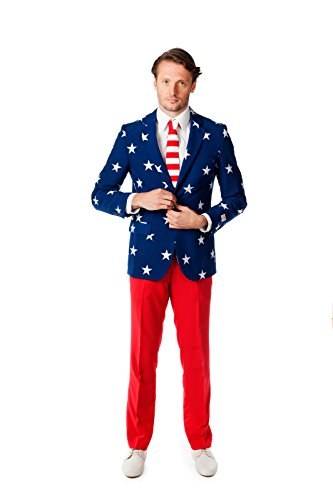 OppoSuits Men's Stars and Stripes Party Costume Suit