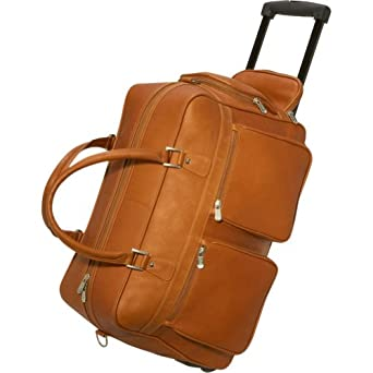 Piel Leather Multi-Pocket Duffel on Wheels Saddle
