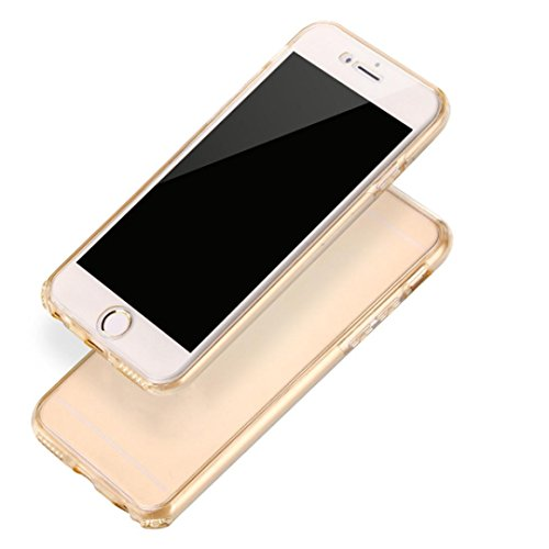 6 Plus Case,iphone 6S Plus Case,LANDFOX 2016 TPU Shockproof Hybrid Back Front Rubber Clear Cover Case For iPhone 6S Plus (Gold) (Iphone 6 Case Positive compare prices)