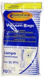 Sanyo Transformax Vacuum Bags Microfiltration With Closure - 10 Pack