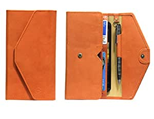 J Cover A12 Nillofer Leather Wallet Universal Phone Pouch Cover Case For Moto G (3rd Generation) Orange