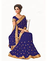Charming Blue Faux Chiffon Saree