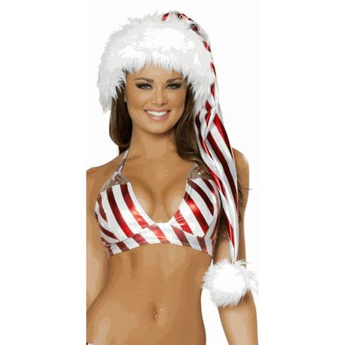 Sexy Musotica Deluxe Long Metallic Candy Cane Santa Hat Red/White One Size
