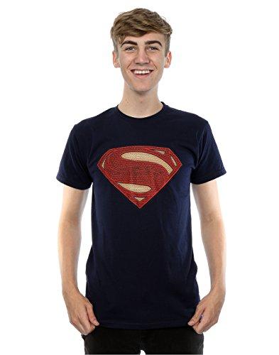 DC Comics Uomo Superman Man Of Steel Logo Maglietta Large blu scuro