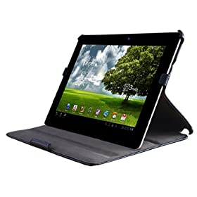 YooMee Asus Eee Pad Transformer PRIME TF201 Slimfit Black Leather Case Cover Folio with Multi-Angle Stand