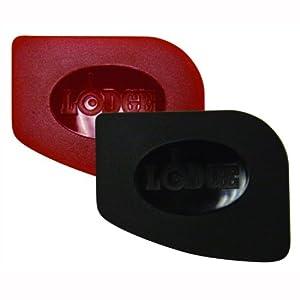 Lodge SCRAPERPK Durable Polycarbonate Pan Scrapers, Red and Black, 2-Pack