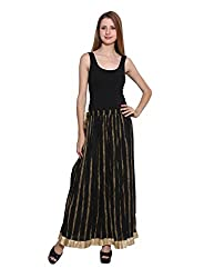 PANIT_Black and Gold Print Skirt_Double Extra Large