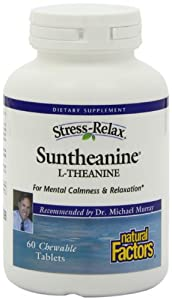 Natural Factors Stress-Relax Suntheanine Chewable Tablets, 60-Count