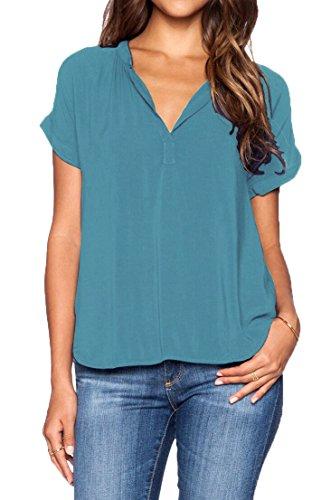 LILBETTER Women's Casual Summer Women Blouse Tops Short Sleeve Shirt(Blue L) (Women Tops Short Sleeve compare prices)