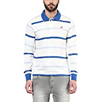 American Crew Men's Polo Collar Long Sleeves White, Navy Blue & Light Blue Stripes T-Shirt -XL (AC067FS-XL)