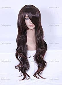 CosplayerWorld Cosplay Wigs BLEACH Kyouraku Shunsui Wig For Convention Party Show Dark Brown 65cm 220g WIG-006A4