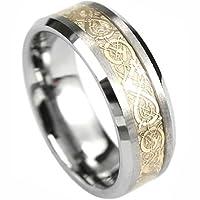 Tungsten Ring with Elegant Gold Center Design